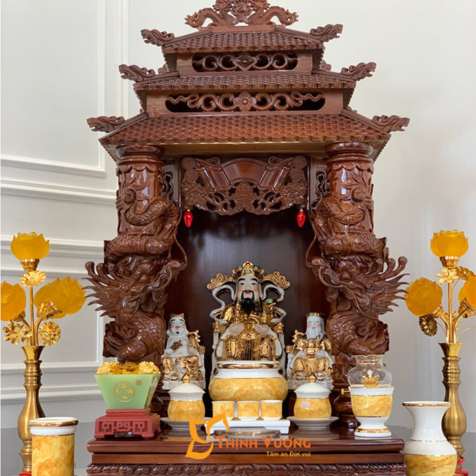 Bộ Ban Thờ Thần Tài 3 Tầng Cột Rồng To 61 Vàng Đá 3TCRG01VD