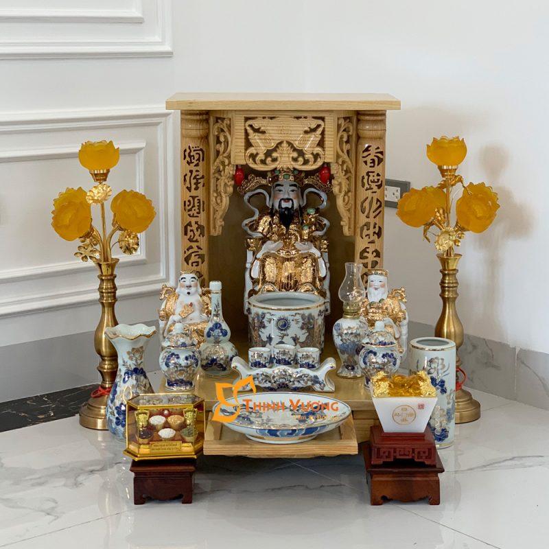 Bộ Bàn Thờ Thần Tài MB 36 Pơ Mu Sứ Vẽ Vàng DUVT01VV1