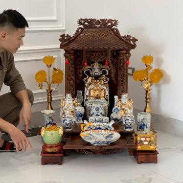 Bộ Bàn Thờ Thần Tài 1 Tầng Gụ 41 Vẽ Vàng 1TMG01VV1