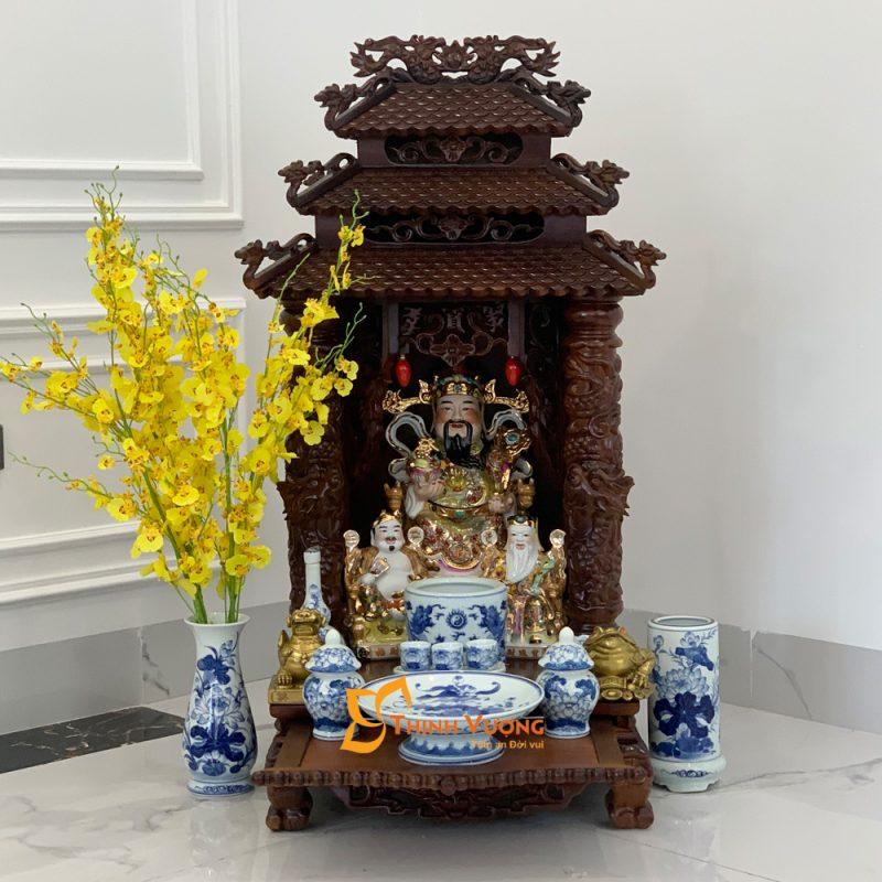 Bàn Thờ Thần Tài 3 Tầng Mái Cột Rồng Gụ 3TMG48