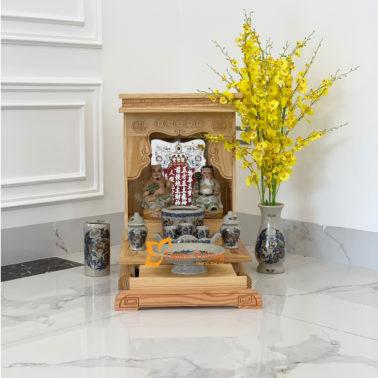 Bộ Bàn Thờ Thần Tài HA 36 Thông Mỹ Sứ Rạn Vàng HDHA01RVV