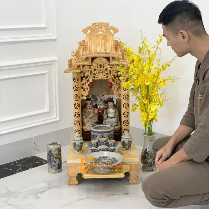 Bộ Bàn Thờ Thần Tài Mái Dốc Pơ MU 41 Rạn Vàng BMDPM01RVV