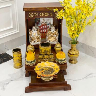 Bộ Bàn Thờ Thần Tài Màu Vẽ Vàng 36 Sồi Kim Sa DDVVM01KS