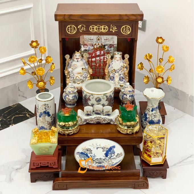 Bộ Bàn Thờ Thần Tài Màu Vẽ Vàng 41 Sồi Vẽ Vàng DDVVM01VV