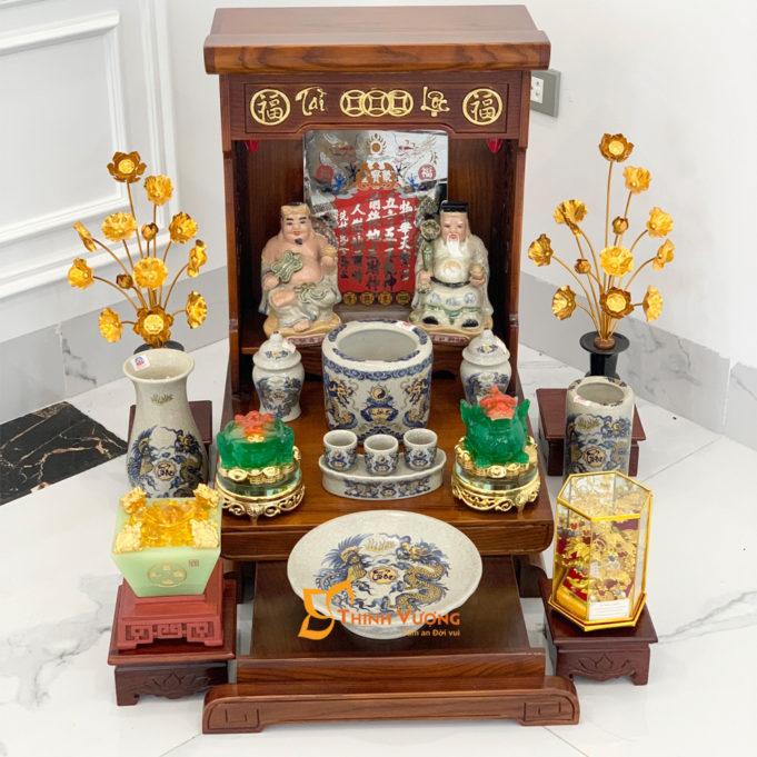 Bộ Bàn Thờ Thần Tài Màu Vẽ Vàng 36 Sồi Rạn Vàng DDVVM01RVV