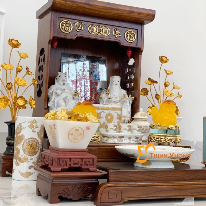 Bộ Bàn Thờ Thần Tài Màu Vẽ Vàng 36 Sồi Trắng Đẹp DDVVM01TD