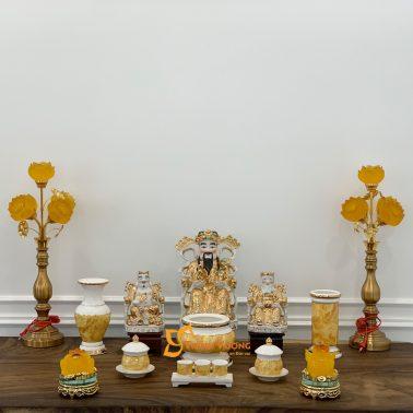 Bộ Đồ Thờ Thần Tài Sứ Vàng Đá BTT01VD