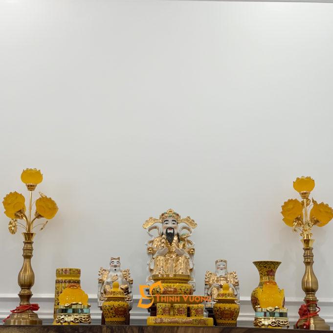 Bộ Đồ Thờ Thần Tài Sứ Gấm Vàng BTT01GV