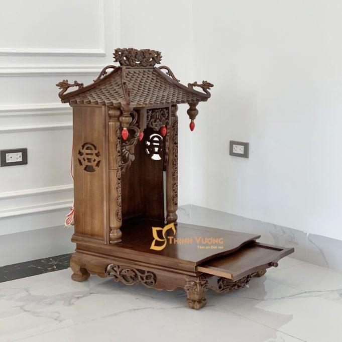 Địa Chỉ bán bàn thờ thần tài mái chùa đẹp gỗ gụ