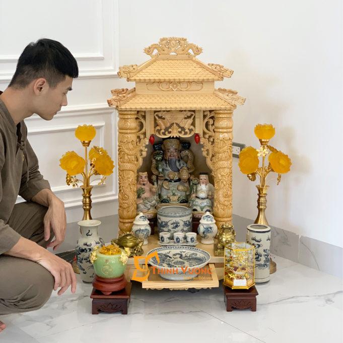 Bộ Bàn Thờ Thần Tài 2 Tầng Cột PơMu 48 Rạn Vẽ 2TCPM01RV1