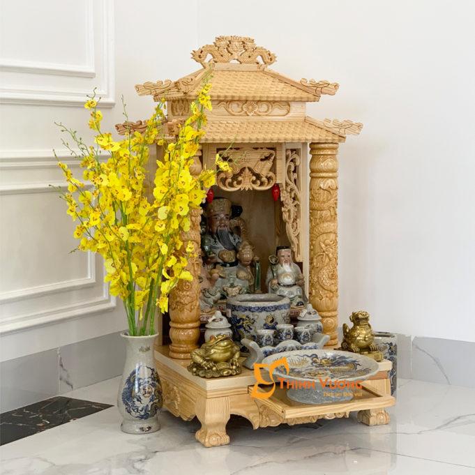 Bộ Bàn Thờ Thần Tài 2 Tầng Cột PơMu 48 Rạn Vàng 2TCPM01RVV