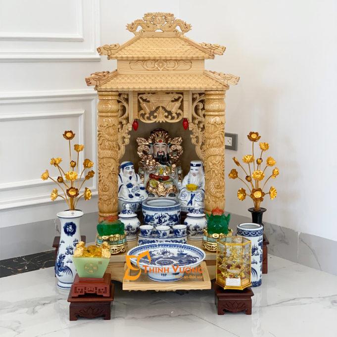 Bộ Bàn Thờ Thần Tài 2 Tầng Cột PơMu 48 Xanh Đẹp 2TCPM01XD1