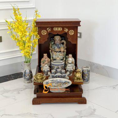 Bộ Bàn Thờ Thần Tài AH 41 Sồi Sứ Rạn Vàng HDAH01RVV