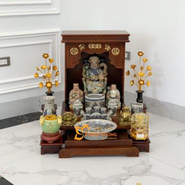 Bộ Bàn Thờ Thần Tài AH 41 Sồi Sứ Rạn Vàng HDAH01RVV1