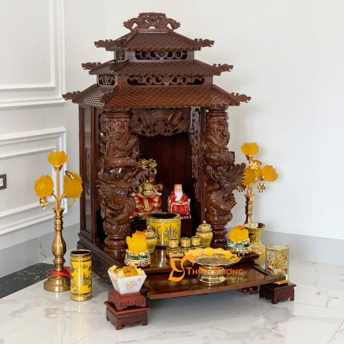 Bộ Ban Thờ Thần Tài 3 Tầng Cột Rồng To 61 Kim Sa 3TCRG01KS