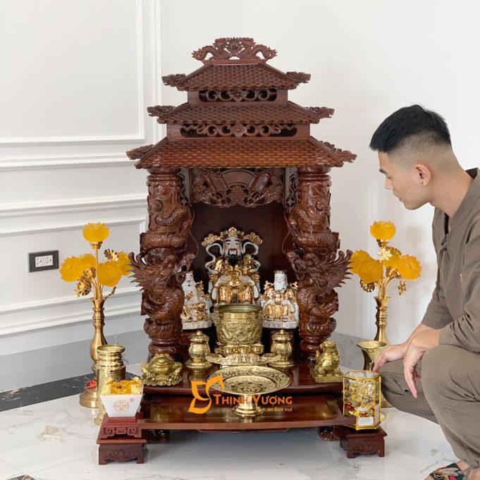 Bộ Ban Thờ Thần Tài 3 Tầng Cột Rồng To 61 Đồng 3TCRG01DD