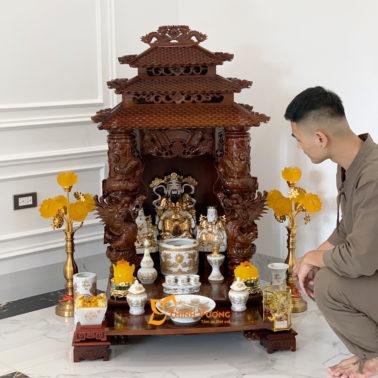 Bộ Ban Thờ Thần Tài 3 Tầng Cột Rồng To 61 Trắng Đẹp 3TCRG01TD