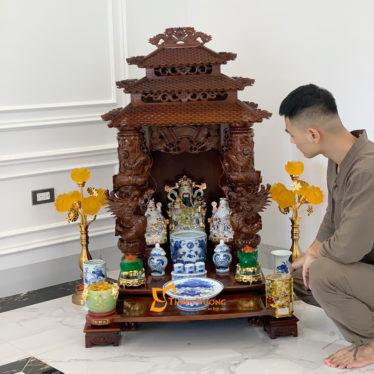 Bộ Ban Thờ Thần Tài 3 Tầng Cột Rồng To 61 Rong Cổ 3TCRG01RC