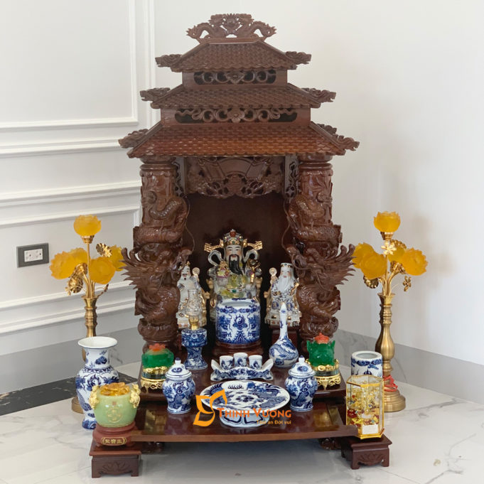 Bộ Ban Thờ Thần Tài 3 Tầng Cột Rồng To 61 Xanh Nổi 3TCRG01XN