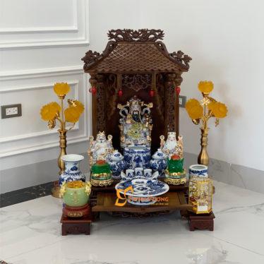 Bộ bàn thờ thần tài 1 tầng gụ 41 xanh nổi - 1MG01XN1