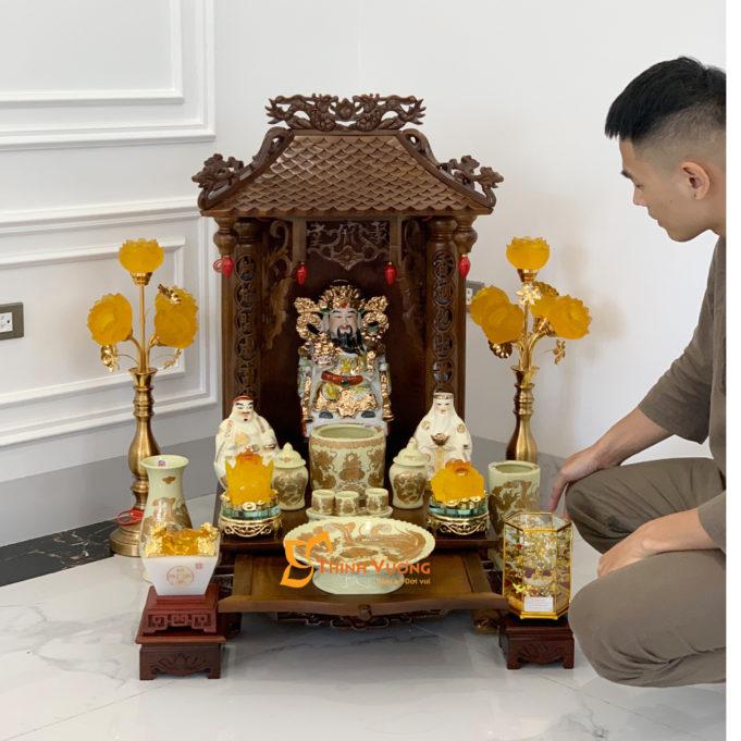 Bộ Bàn Thờ Thần Tài 1 Tầng Gụ 41 Kim Sa 1TMG01KS2