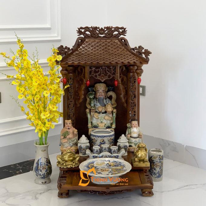 Bộ Bàn Thờ Thần Tài 1 Tầng Gụ 41 Rạn Vàng 1TMG01RVV