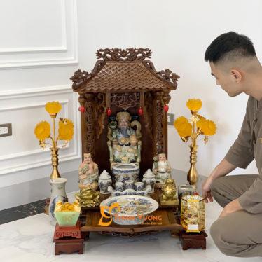 Bộ Bàn Thờ Thần Tài 1 Tầng Gụ 41 Rạn Vàng 1TMG01RVV 1
