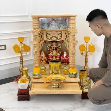 Bộ Bàn Thờ Thần Tài Lân Cột PơMu 56 Kim Sa BLCPM01KS1