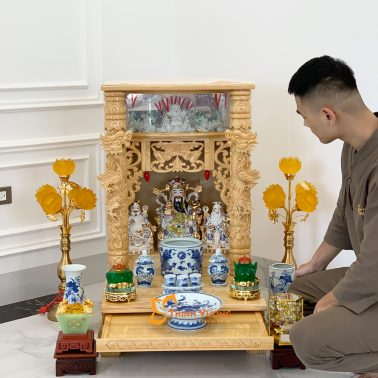 Bộ Bàn Thờ Thần Tài Lân Cột PơMu 56 Rong Cổ BLCPM01RC