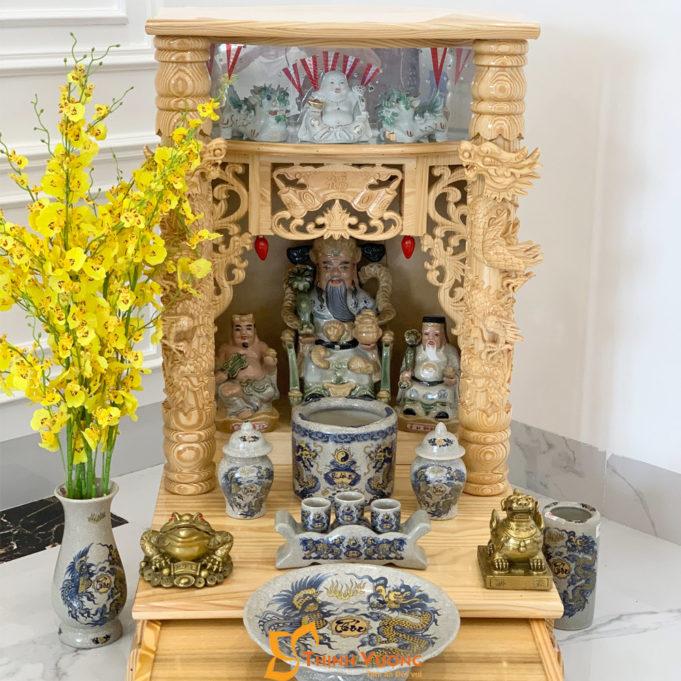 Bộ Bàn Thờ Thần Tài Lân Cột PơMu 56 Rạn Vàng BLCPM01RVV