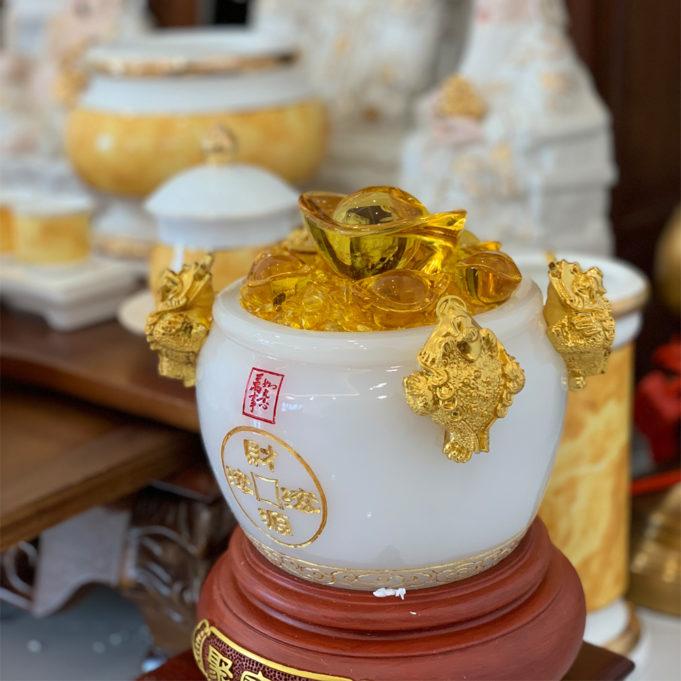 Bộ Bàn Thờ Thần Tài MB 41 Gụ Sứ Vàng Đá MBG01VD1