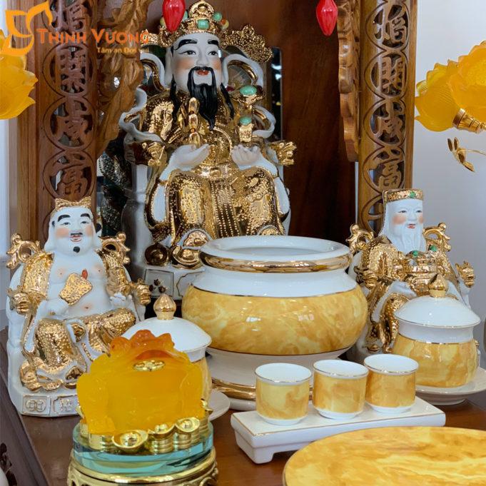 Bộ Bàn Thờ Thần Tài Mái Dốc Gụ 48 Vàng Đá BMDG01VD1