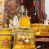 Bộ Bàn Thờ Thần Tài Mái Dốc Cột Gụ 48 Gấm Vàng BMDCG01GV