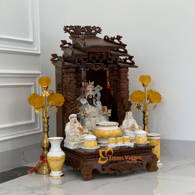 Bộ Bàn Thờ Thần Tài Mái Dốc Cột Gụ 48 Vàng Đá BMDCG01VD