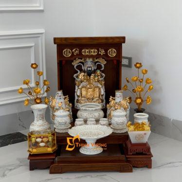 Bộ Bàn Thờ Thần Tài Màu Vẽ Vàng 36 Sồi Trắng Đẹp DDVVM01TS