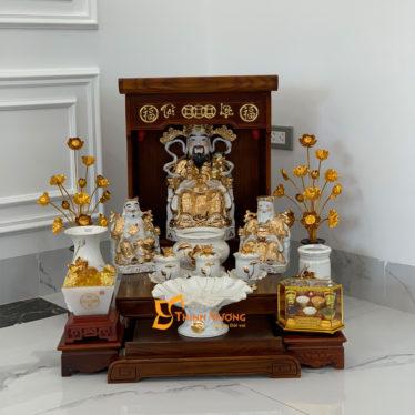 Bộ Bàn Thờ Thần Tài Màu Vẽ Vàng 36 Sồi Sen Nổi DDVVM01SN
