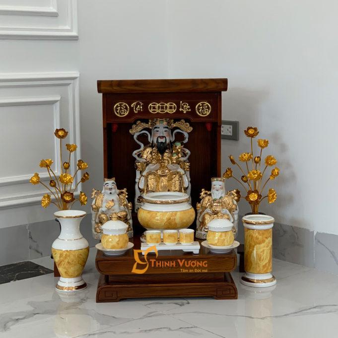 Bộ Bàn Thờ Thần Tài Màu Vẽ Vàng 36 Sồi Vàng Đá DDVVM01VD