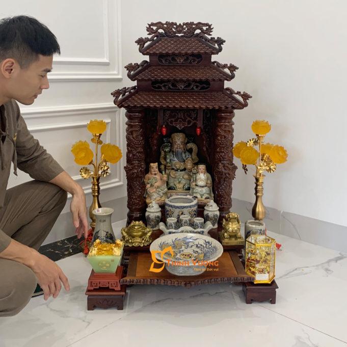 Bộ Ban Thờ Thần Tài 3 Tầng Gụ 48 Rạn Vàng 3TMG01RVV1
