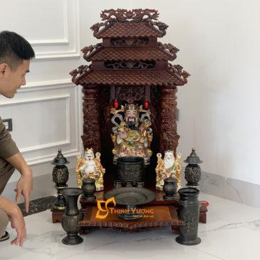 Bộ Ban Thờ Thần Tài 3 Tầng Gụ 48 Đồng Đen 3TMG01DD