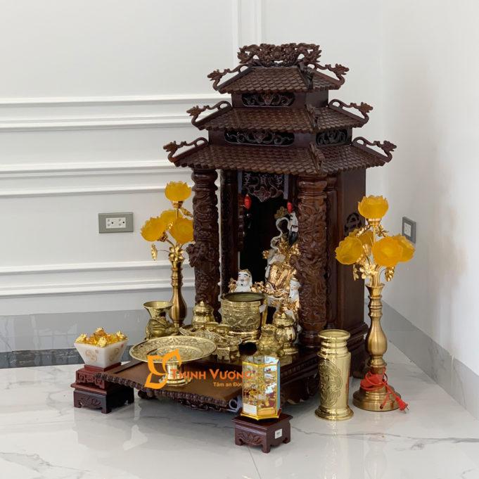 Bộ Ban Thờ Thần Tài 3 Tầng Gụ 48 Đồng 3TMG01D1
