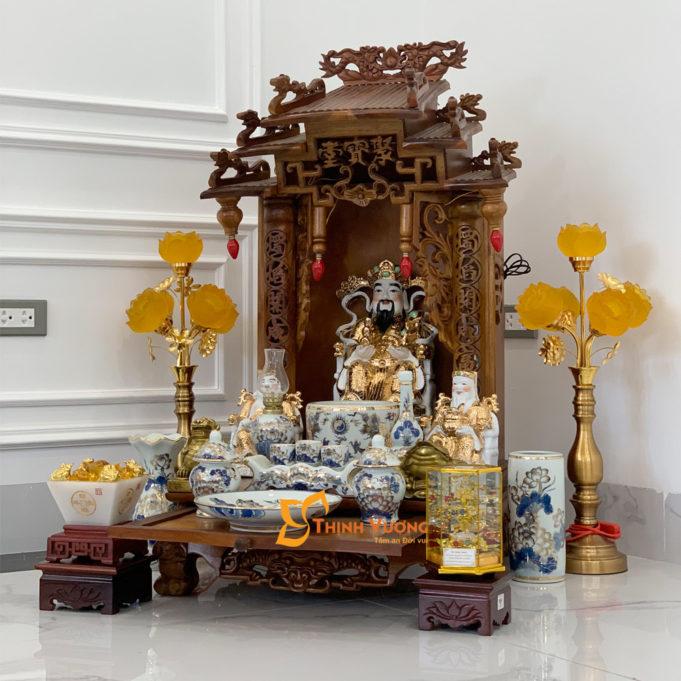 Bộ Bàn Thờ Thần Tài Mái Dốc Gụ 48 Vẽ Vàng BMDG01VV1