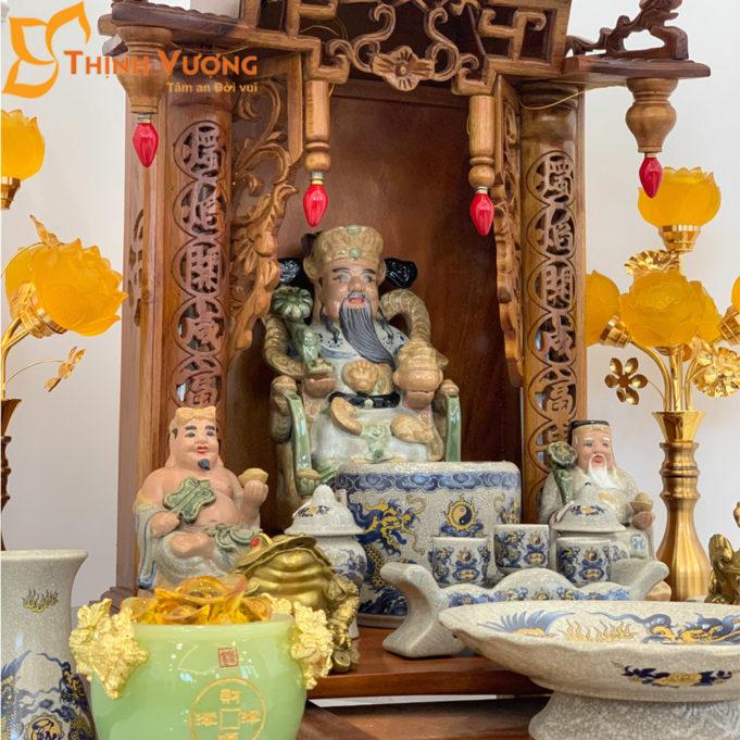 Bộ Bàn Thờ Thần Tài Mái Dốc Gụ 48 Rạn Vàng BMDG01RVV1