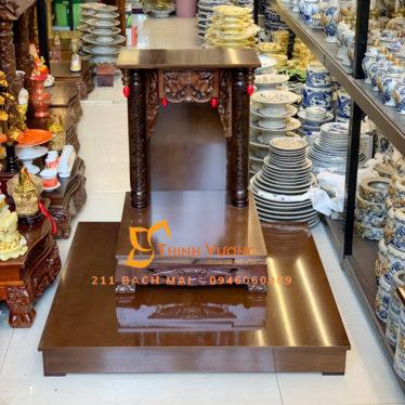 Giới thiệu về sản phẩm Bộ Bàn Thờ Thần Tài Thổ Địa Gỗ Xoan Chân Quỳ Mái Bằng