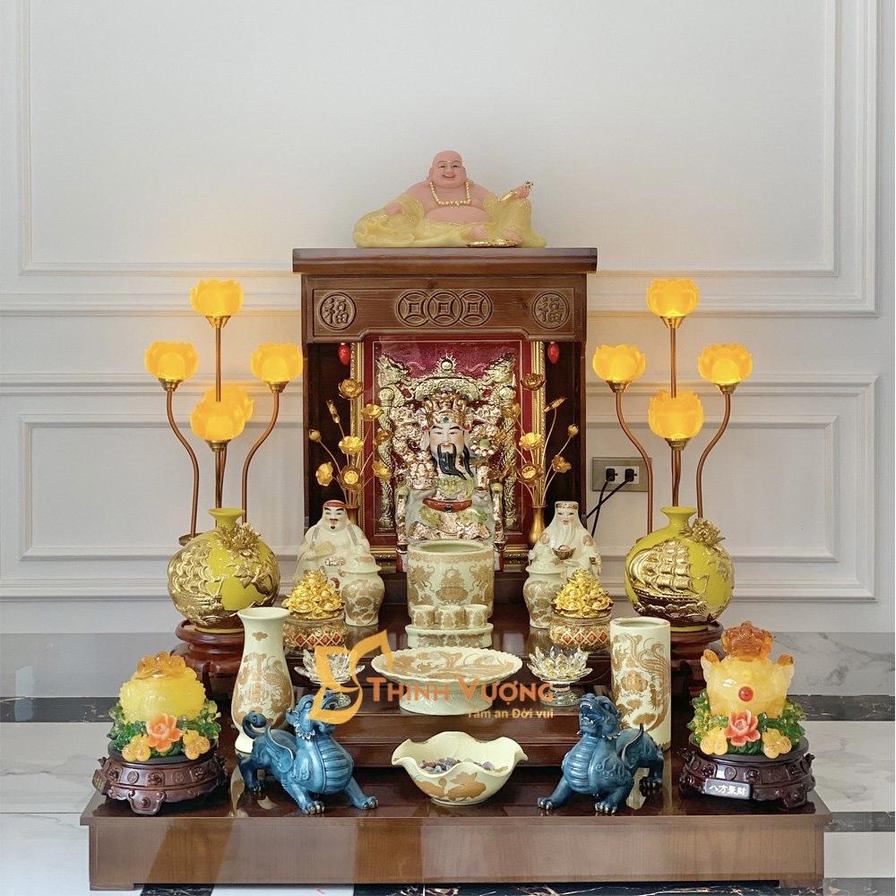 Bàn thờ thần tài gỗ thông mỹ hiện đại đẹp
