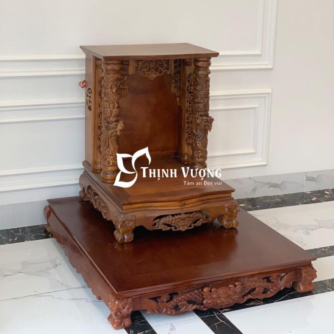 Nét nổi bật trong thiết kế của bàn thờ thần tài mái bằng gỗ gụ