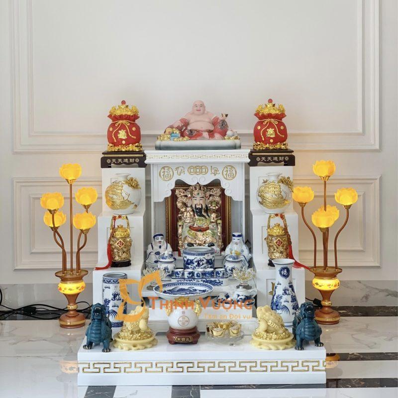 Giới thiệu về sản phẩm bàn thờ thần tài hiện đại trắng gỗ Sồi kèm kệ