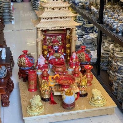 Bộ bàn thờ thần tài mái chùa gỗ pơmu