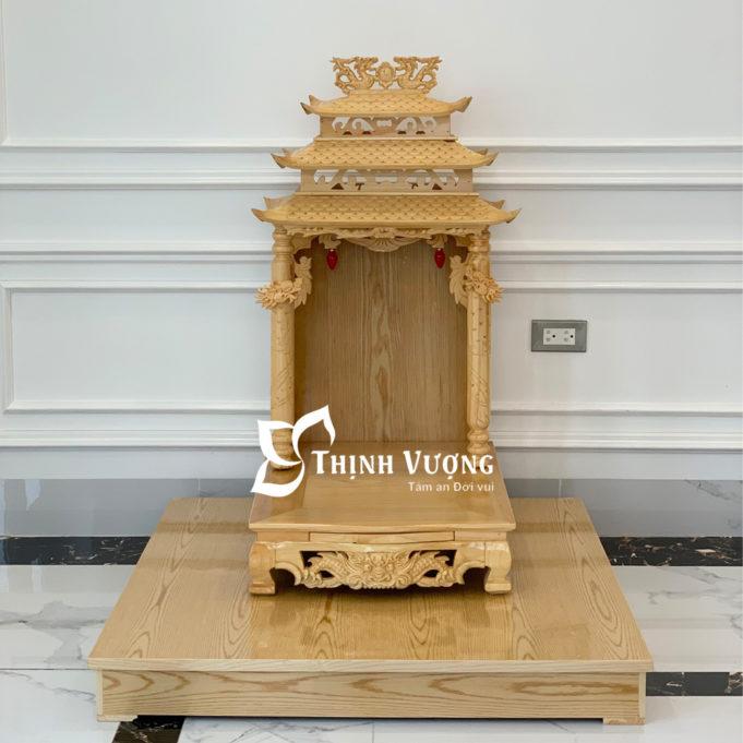 Bàn thờ thần tài mái chùa gỗ pơmu