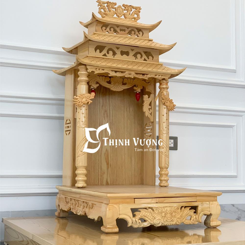 Bàn thờ thần tài mái chùa gỗ pơmu bán chạy
