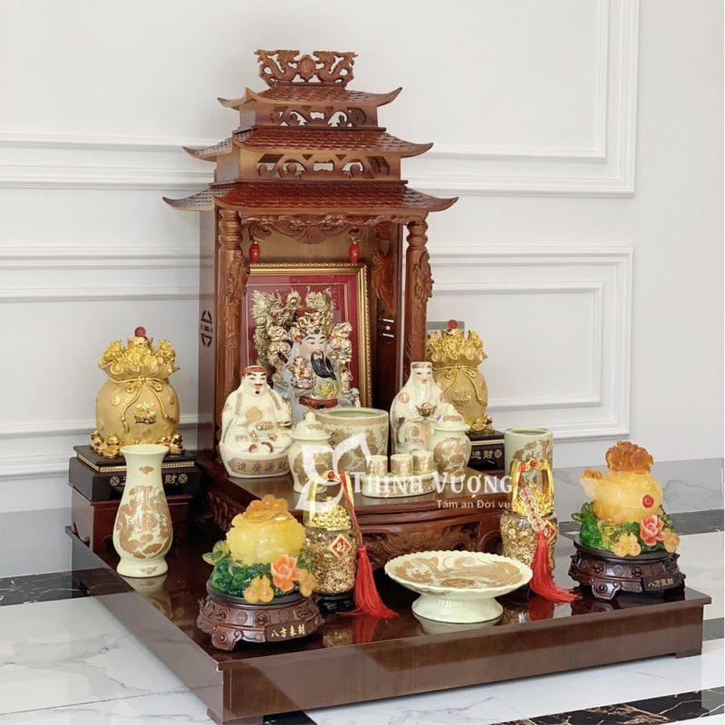 Bàn thờ thần tài mái chùa gỗ xoan đào